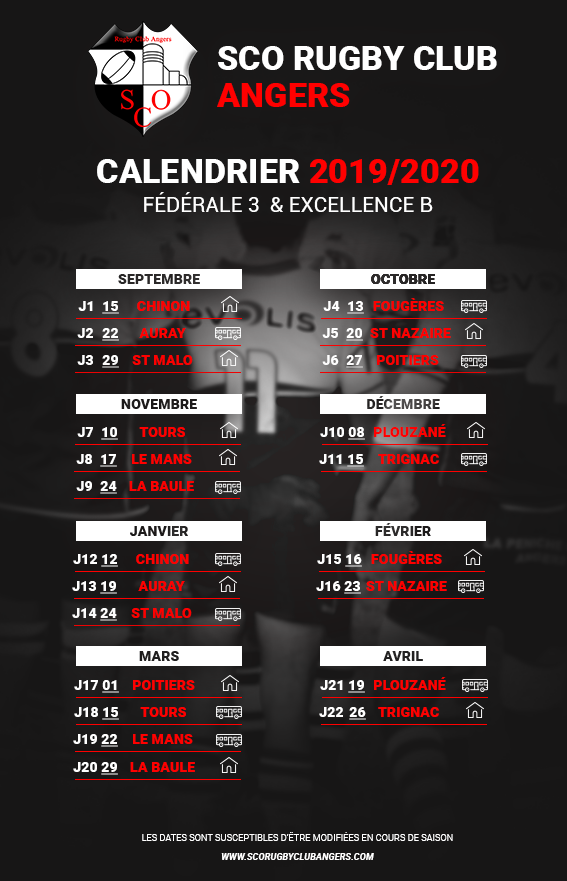 Sco Angers Calendrier.Sco Rugby